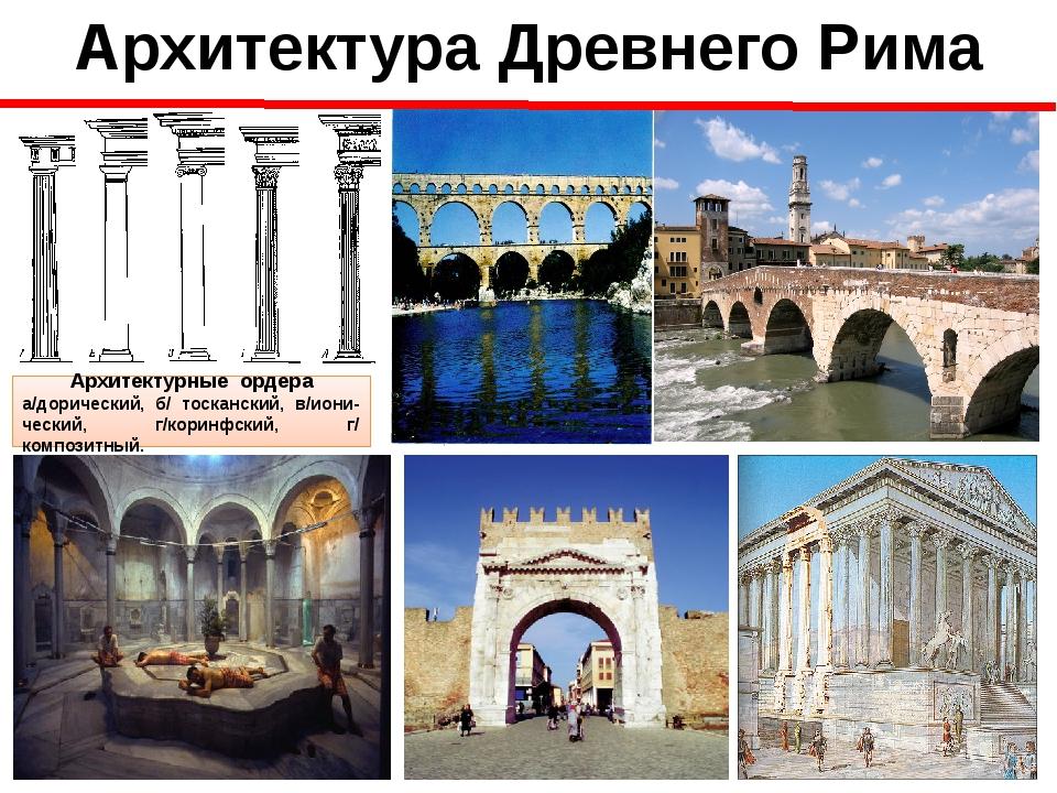 Архитектура Древнего Рима Архитектурные ордера а/дорический, б/ тосканский, в...