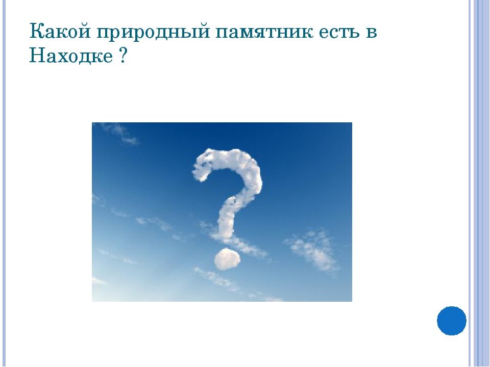 Какой природный памятник есть в Находке ? Сопка— традиционный символ, визитн...