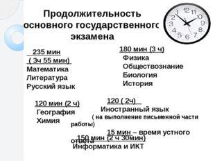 Продолжительность основного государственного экзамена 235 мин ( 3ч 55 мин) М