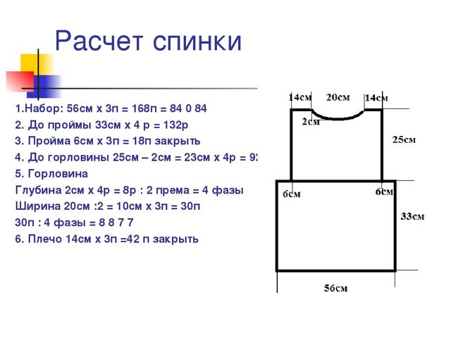 Расчет спинки 1.Набор: 56см х 3п = 168п = 84 0 84 2. До проймы 33см х 4 р = 1...