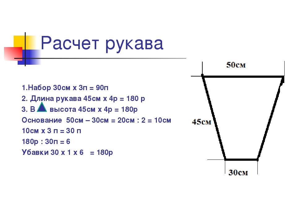 Расчет рукава 1.Набор 30см х 3п = 90п 2. Длина рукава 45см х 4р = 180 р 3. В...