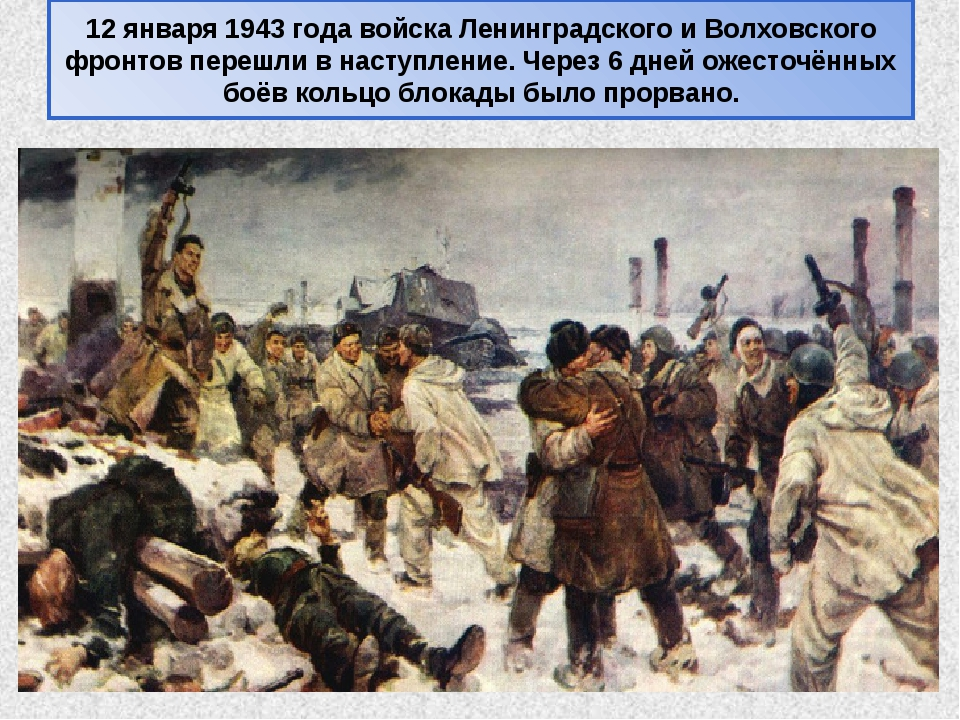 12 января 1943 года войска Ленинградского и Волховского фронтов перешли в нас...