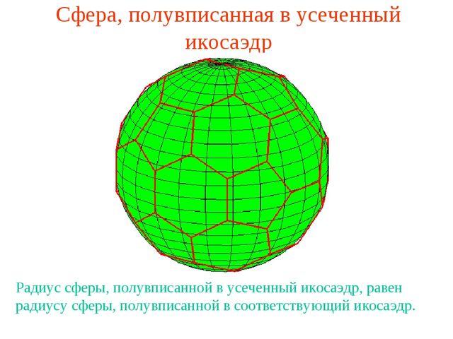Сфера, полувписанная в усеченный икосаэдр Радиус сферы, полувписанной в усече...