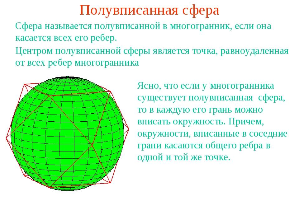 Полувписанная сфера Сфера называется полувписанной в многогранник, если она к...