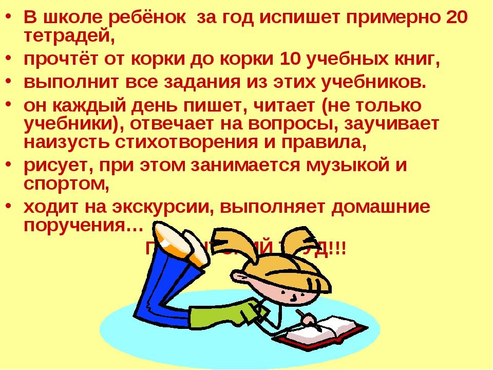 В школе ребёнок за год испишет примерно 20 тетрадей, прочтёт от корки до корк...