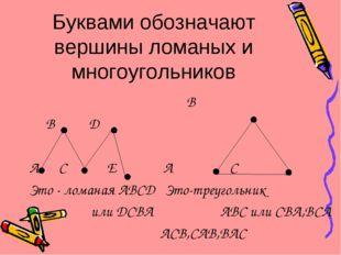 Буквами обозначают вершины ломаных и многоугольников B B D A C E A C Это - ло
