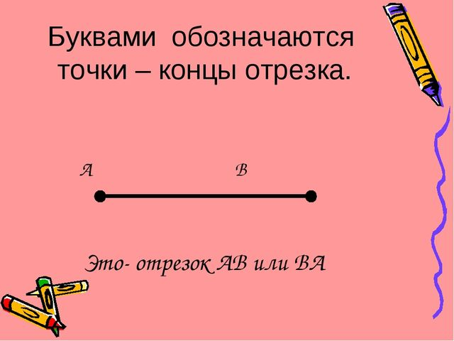 Буквами обозначаются точки – концы отрезка. A B Это- отрезок AB или BA