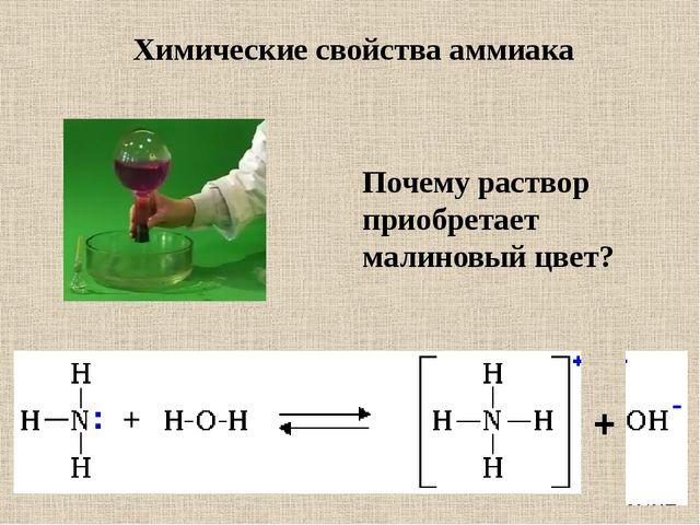 + Почему раствор приобретает малиновый цвет? Химические свойства аммиака