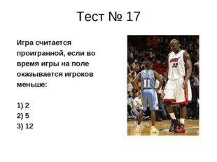 Тест № 17 Игра считается проигранной, если во время игры на поле оказывается