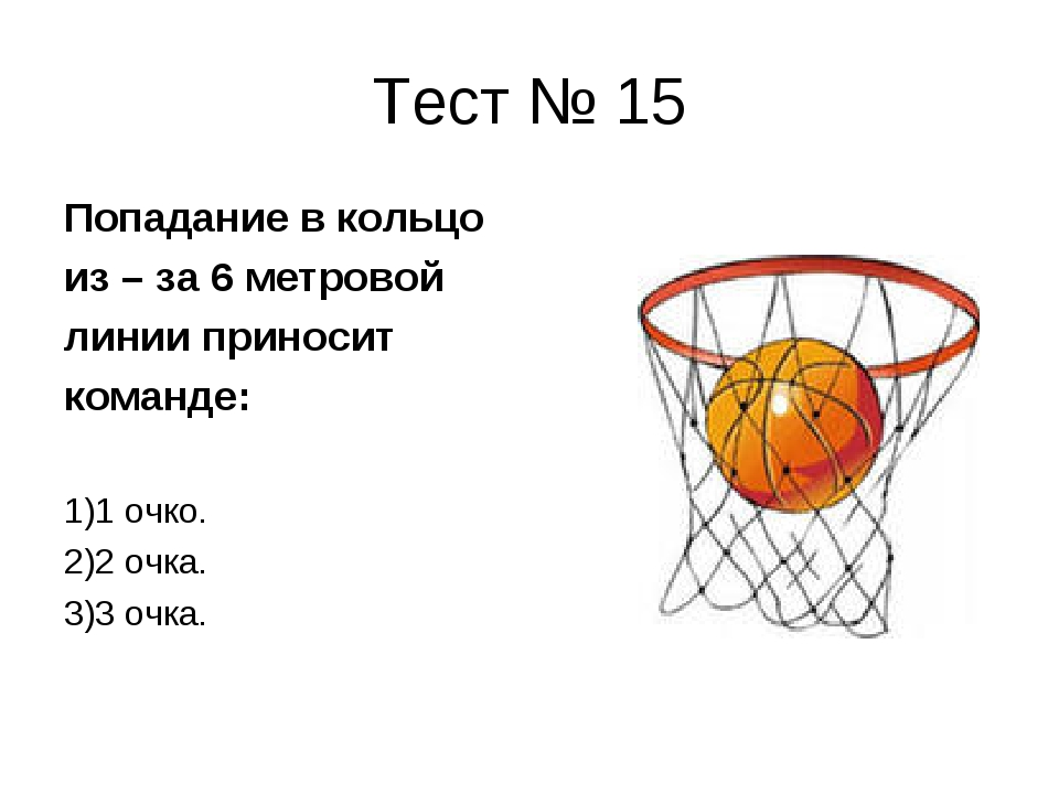 Тест № 15 Попадание в кольцо из – за 6 метровой линии приносит команде: 1)1 о...