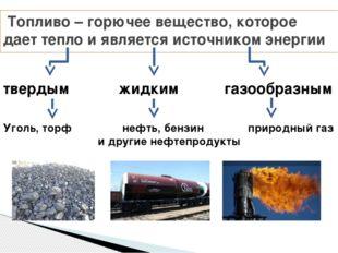 Топливо – горючее вещество, которое дает тепло и является источником энергии