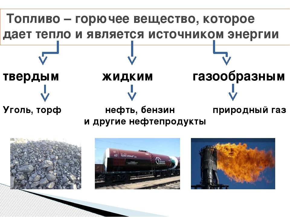 Топливо – горючее вещество, которое дает тепло и является источником энергии...