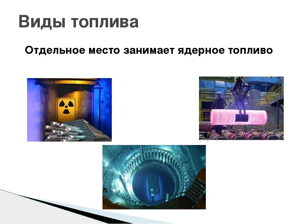 Отдельное место занимает ядерное топливо Виды топлива