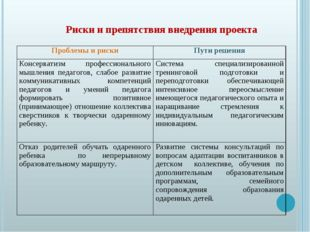 Риски и препятствия внедрения проекта Проблемы и рискиПути решения Консерва