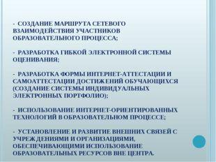 - СОЗДАНИЕ МАРШРУТА СЕТЕВОГО ВЗАИМОДЕЙСТВИЯ УЧАСТНИКОВ ОБРАЗОВАТЕЛЬНОГО ПРОЦЕ