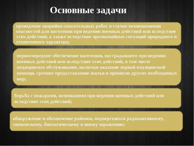 Основные задачи проведение аварийно-спасательных работ в случае возникновения...