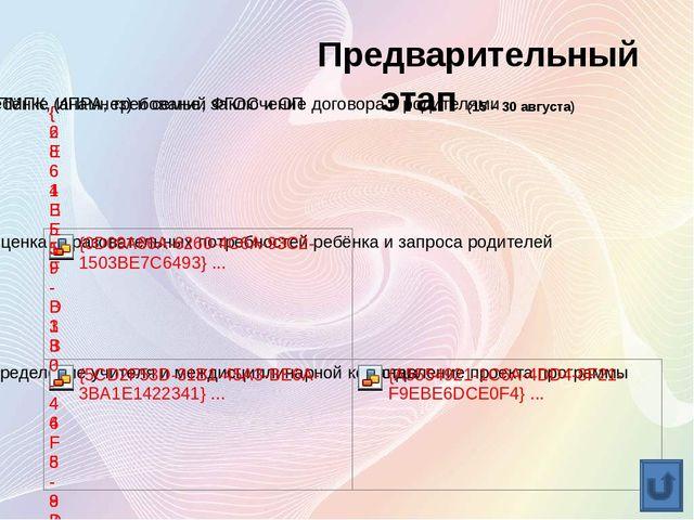 Диагностический этап (01 – 15 сентября)