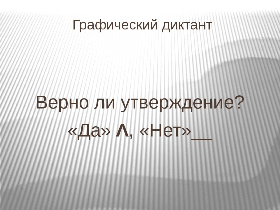 Графический диктант Верно ли утверждение? «Да» Λ, «Нет»__
