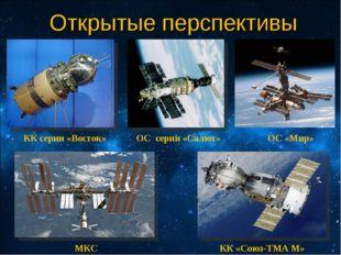 Открытые перспективы КК серии «Восток» ОС серии «Салют» ОС «Мир» МКС КК «Союз