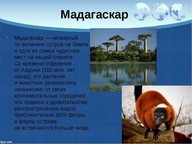 Мадагаскар Мадагаскар— четвёртый повеличине остров наЗемле иодно изсамых...