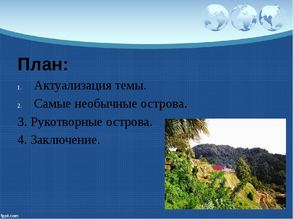 План: Актуализация темы. Самые необычные острова. 3. Рукотворные острова. 4....