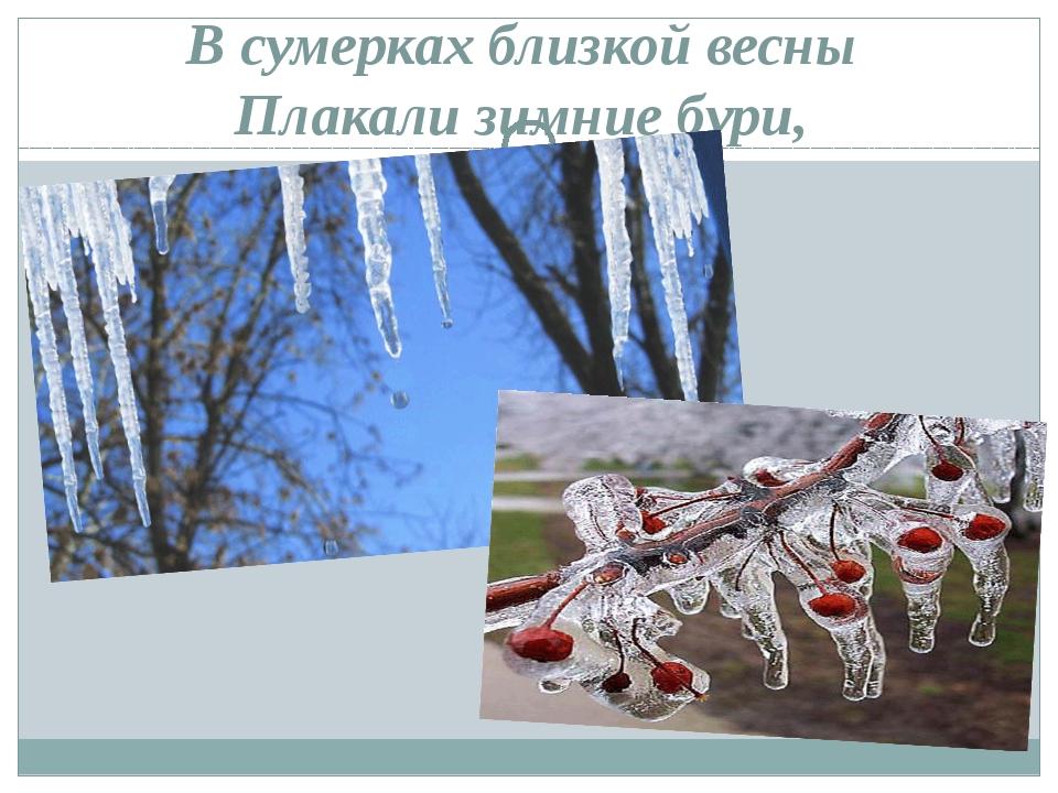 В сумерках близкой весны Плакали зимние бури,