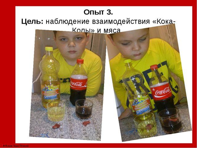 Опыт 3. Цель: наблюдение взаимодействия «Кока-Колы» и мяса. © Фокина Лидия П...