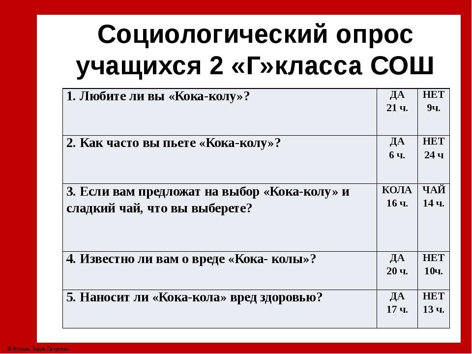 Социологический опрос учащихся 2 «Г»класса СОШ №4. 1. Любите ли вы «Кока-колу...