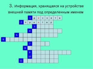 3. Информация, хранящаяся на устройстве внешней памяти под определенным имене