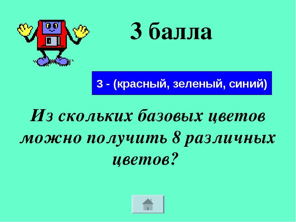 3 балла Из скольких базовых цветов можно получить 8 различных цветов? 3 - (кр...