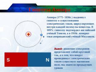 Гипотеза Ампера Вывод: движение электронов представляет собой круговой ток, а