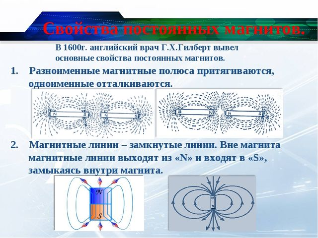 Свойства постоянных магнитов. 1. Разноименные магнитные полюса притягиваются,...