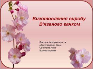 Вчитель інформатики та обслуговуючої праці Соколова Анна Володимирівна