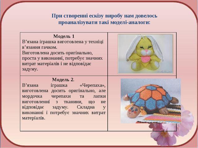При створенні ескізу виробу нам довелось проаналізувати такі моделі-аналоги:...