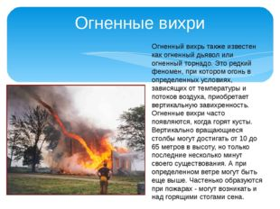 Огненные вихри Огненный вихрь также известен как огненный дьявол или огненный