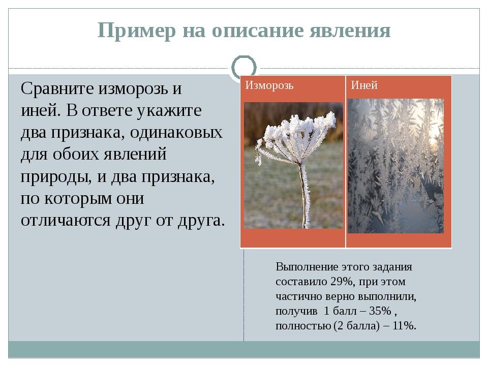 Пример на описание явления Сравните изморозь и иней. В ответе укажите два при...