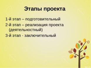 Этапы проекта 1-й этап – подготовительный 2-й этап – реализация проекта (деят