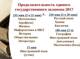 Продолжительность единого государственного экзамена 2017 г. 180 мин (3 ч) Гео