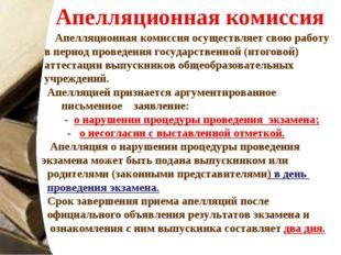 Апелляционная комиссия Апелляционная комиссия осуществляет свою работу в пери