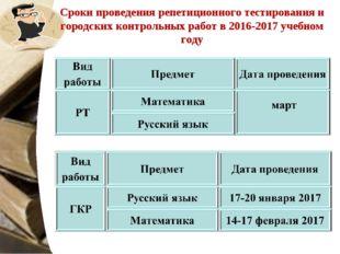 Сроки проведения репетиционного тестирования и городских контрольных работ в