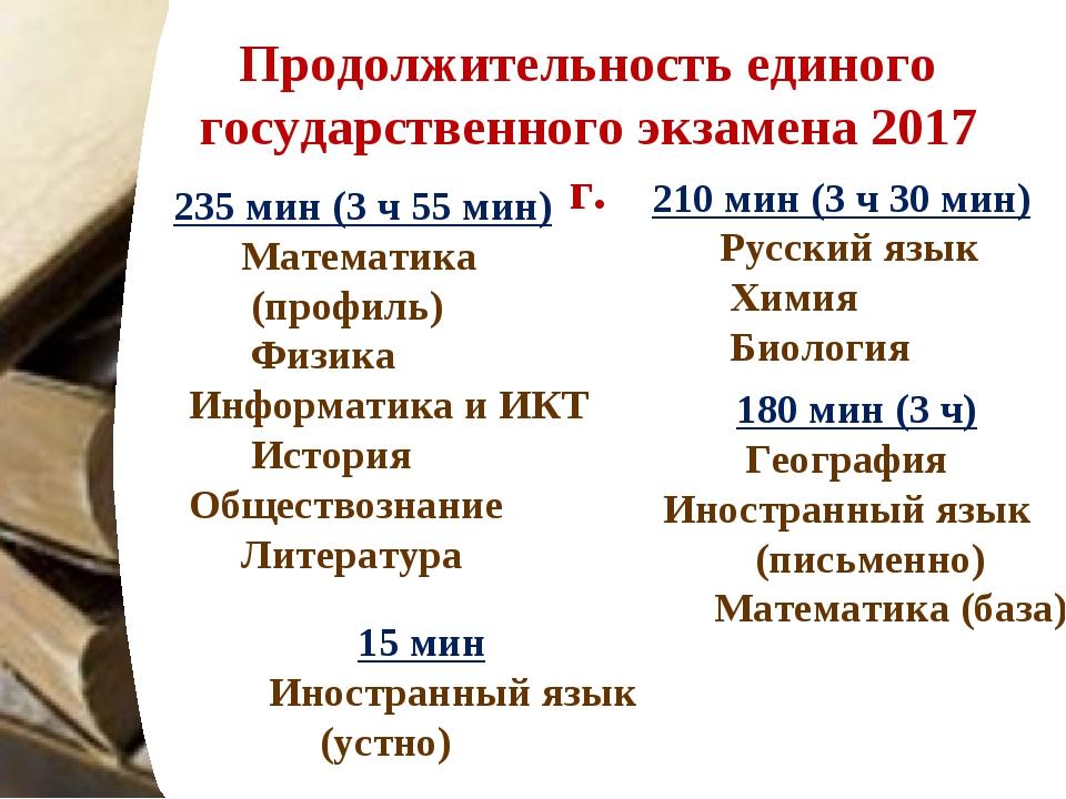 Продолжительность единого государственного экзамена 2017 г. 180 мин (3 ч) Гео...