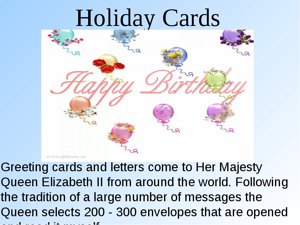 Holiday Cards Greeting cards and letters come to Her Majesty Queen Elizabeth...