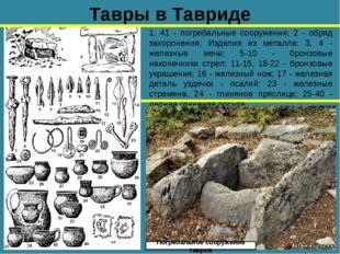 Тавры в Тавриде 1, 41 - погребальные сооружения; 2 - обряд захоронения; Издел