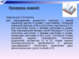 Проверка знаний: Задача:для 1-й группы при скрещивании душистого горошка с яр