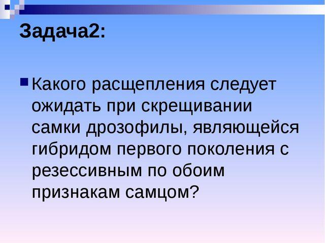 Задача2: Какого расщепления следует ожидать при скрещивании самки дрозофилы,...