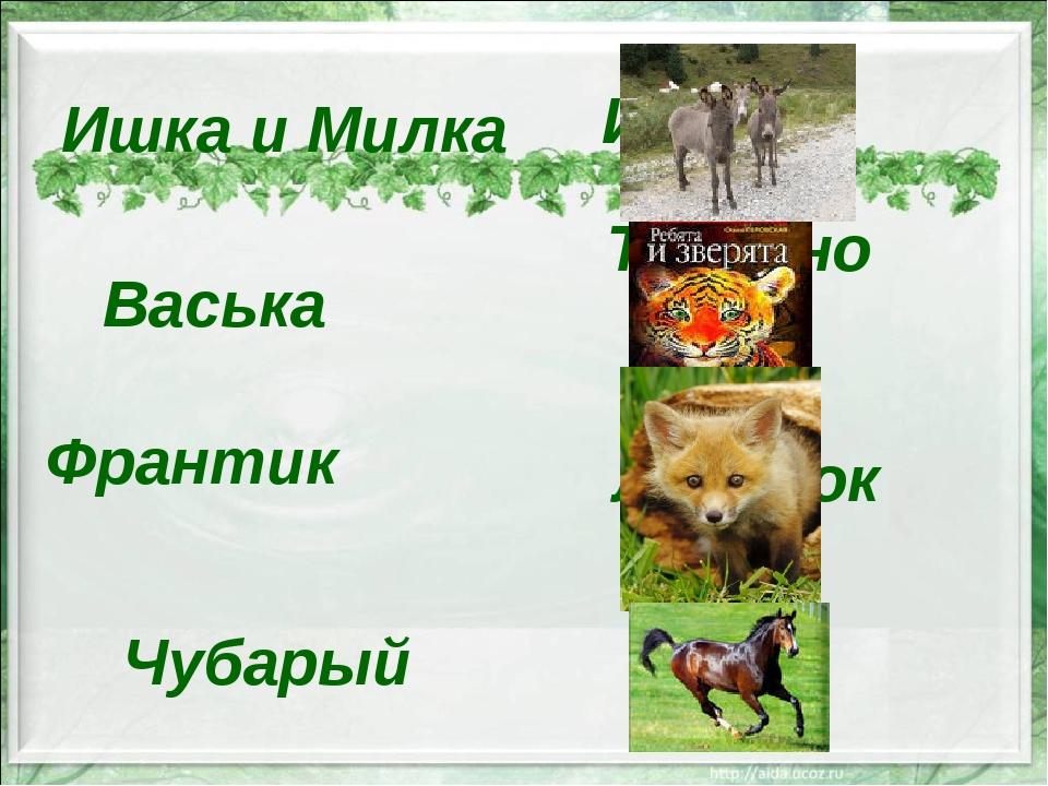 Ишка и Милка Тигрёнок Ишачки Васька Франтик Лисёнок Конь Чубарый