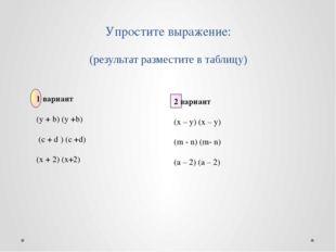 Упростите выражение: (результат разместите в таблицу) 1 вариант (y + b) (y +