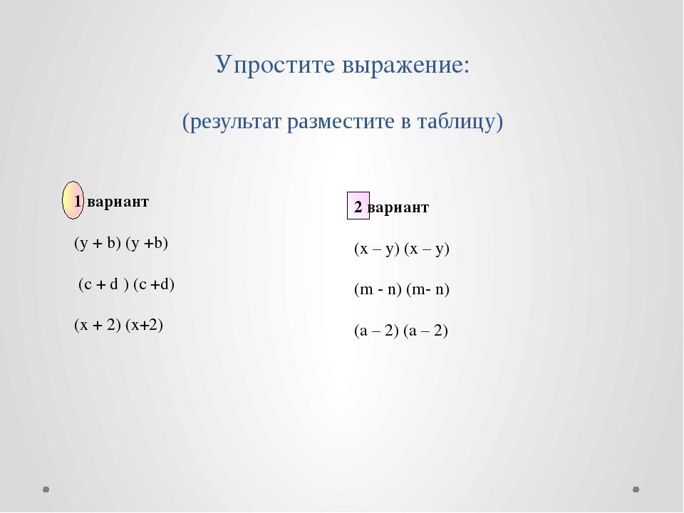 Упростите выражение: (результат разместите в таблицу) 1 вариант (y + b) (y +...