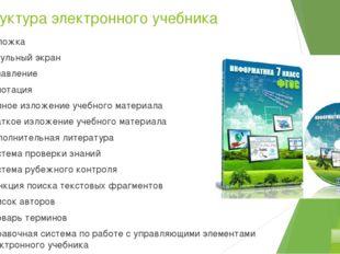 Структура электронного учебника Обложка Титульный экран Оглавление Аннотация