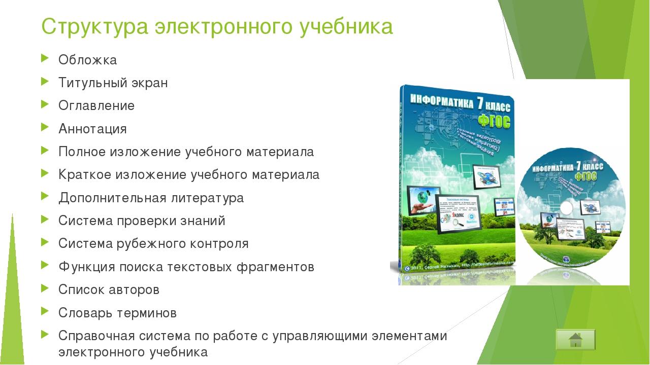 Структура электронного учебника Обложка Титульный экран Оглавление Аннотация...